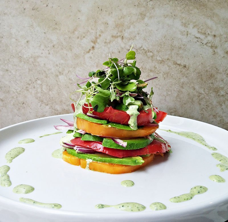 heirloom tomato and avocado stacks (6)