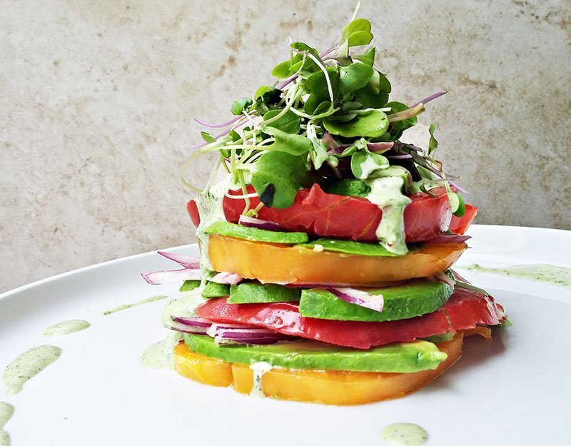heirloom tomato and avocado salad