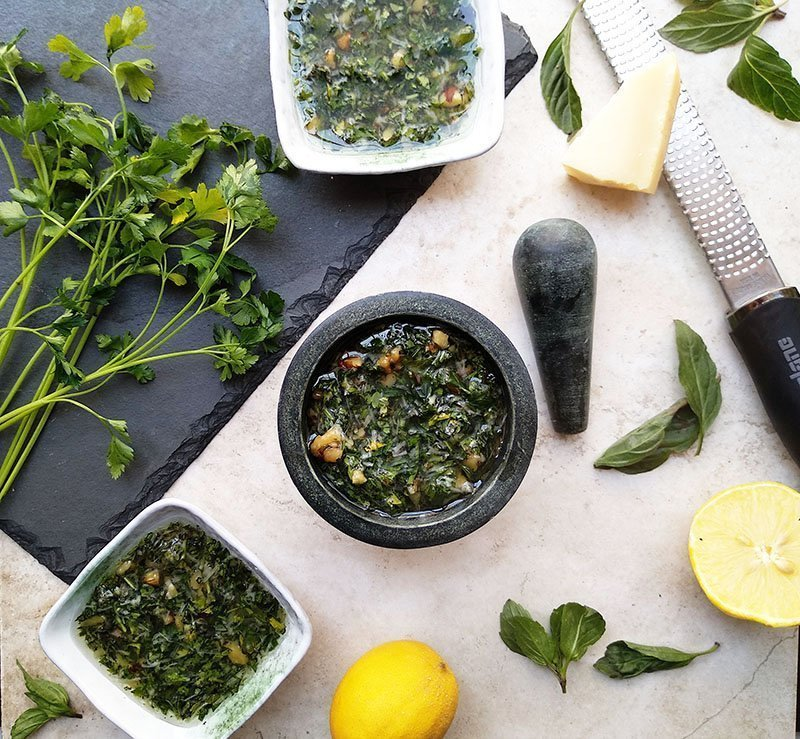 walnut almond basil pesto