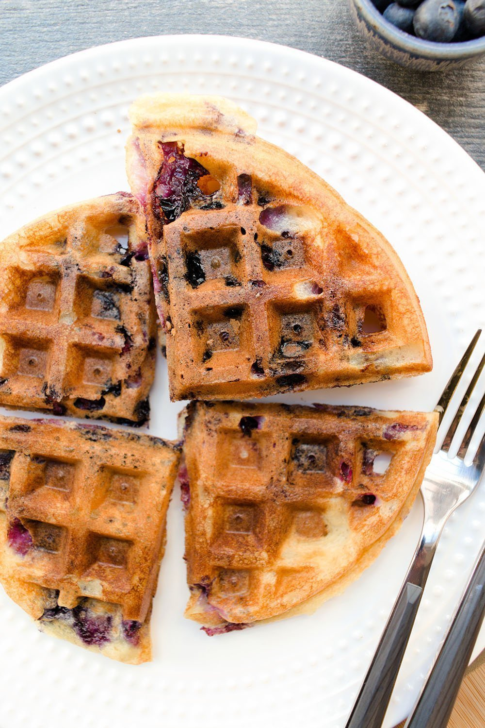 blueberry lemon sourdough waffles