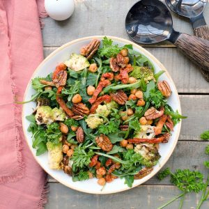 Roasted Chickpea Romanesco Arugula Salad with Pesto Vinaigrette