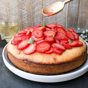 Cream Cheese Pound Cake with Champagne Strawberries