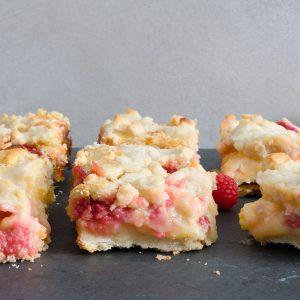 Peach Raspberry Pie Bars with Lemon Curd